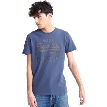 Textil Muži Trička s krátkým rukávem Superdry M1010100A Modrý