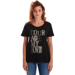 Textil Ženy Trička s krátkým rukávem Key Up 5Z19S 0001 Černá