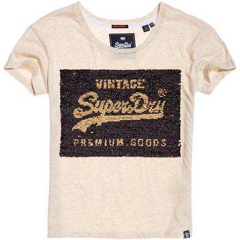 Textil Ženy Trička s krátkým rukávem Superdry G10010MR Béžový
