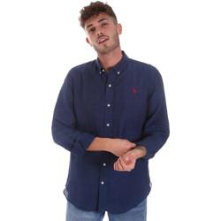 Textil Muži Košile s dlouhymi rukávy U.S Polo Assn. 58574 50816 Modrý