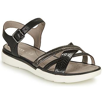 Boty Ženy Sandály Geox D SANDAL HIVER A Černá / Stříbrná
