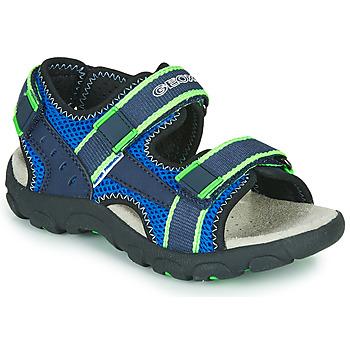 Boty Chlapecké Sportovní sandály Geox JR SANDAL STRADA Modrá / Zelená