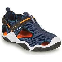 Boty Chlapecké Sportovní sandály Geox JR WADER Tmavě modrá / Oranžová