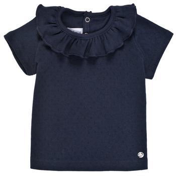 Textil Dívčí Trička s krátkým rukávem Petit Bateau MELISSA Tmavě modrá