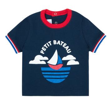 Textil Chlapecké Trička s krátkým rukávem Petit Bateau MENU Tmavě modrá