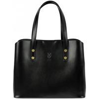 Taška Ženy Kabelky  Vera Pelle Kožená černá dámská kabelka do ruky Florencie černá