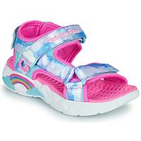 Boty Dívčí Sportovní sandály Skechers RAINBOW RACER Stříbrná        / Růžová