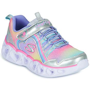 Boty Dívčí Nízké tenisky Skechers HEART LIGHTS RAINBOW LUX Stříbrná        / Růžová