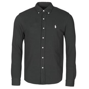 Textil Muži Košile s dlouhymi rukávy Polo Ralph Lauren CHEMISE AJUSTEE COL BOUTONNE EN POLO FEATHERWEIGHT LOGO PONY PLA Černá