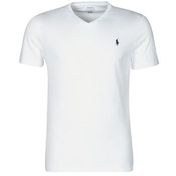 Textil Muži Trička s krátkým rukávem Polo Ralph Lauren T-SHIRT AJUSTE COL V EN COTON LOGO PONY PLAYER Bílá