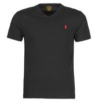 Textil Muži Trička s krátkým rukávem Polo Ralph Lauren T-SHIRT AJUSTE COL V EN COTON LOGO PONY PLAYER Černá