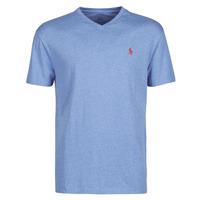 Textil Muži Trička s krátkým rukávem Polo Ralph Lauren T-SHIRT AJUSTE COL V EN COTON LOGO PONY PLAYER Modrá