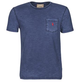 Textil Muži Trička s krátkým rukávem Polo Ralph Lauren T-SHIRT AJUSTE COL ROND EN COTON LOGO PONY PLAYER Modrá