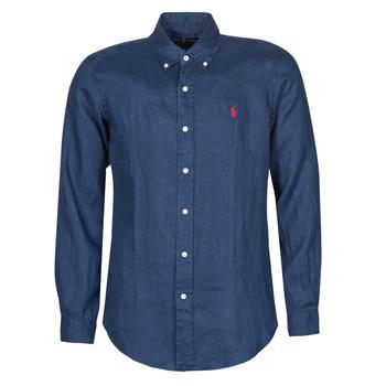 Textil Muži Košile s dlouhymi rukávy Polo Ralph Lauren CHEMISE AJUSTEE EN LIN COL BOUTONNE  LOGO PONY PLAYER Modrá