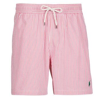 Textil Muži Plavky / Kraťasy Polo Ralph Lauren MAILLOT SHORT DE BAIN RAYE SEERSUCKER CORDON DE SERRAGE ET POCHE Červená / Bílá