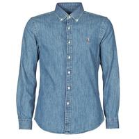 Textil Muži Košile s dlouhymi rukávy Polo Ralph Lauren CHEMISE CINTREE SLIM FIT EN JEAN DENIM BOUTONNE LOGO PONY PLAYER Modrá