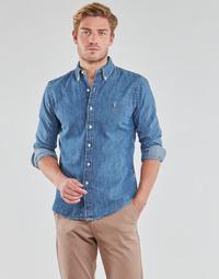 Textil Muži Košile s dlouhymi rukávy Polo Ralph Lauren CHEMISE CINTREE SLIM FIT EN JEAN DENIM BOUTONNE LOGO PONY PLAYER Modrá / Džínová modř