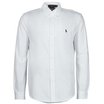 Textil Muži Košile s dlouhymi rukávy Polo Ralph Lauren CHEMISE AJUSTEE COL BOUTONNE EN POLO FEATHERWEIGHT LOGO PONY PLA Bílá
