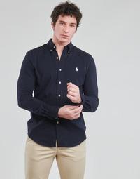 Textil Muži Košile s dlouhymi rukávy Polo Ralph Lauren CHEMISE AJUSTEE COL BOUTONNE EN POLO FEATHERWEIGHT LOGO PONY PLA Tmavě modrá