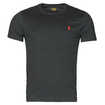 Textil Muži Trička s krátkým rukávem Polo Ralph Lauren T-SHIRT AJUSTE COL ROND EN COTON LOGO PONY PLAYER Černá