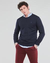 Textil Muži Svetry Polo Ralph Lauren PULL COL ROND AJUSTE EN COTON PIMA LOGO PONY PLAYER Modrá