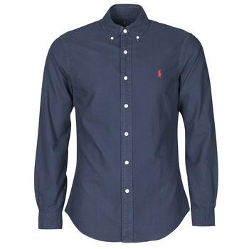Textil Muži Košile s dlouhymi rukávy Polo Ralph Lauren CHEMISE CINTREE SLIM FIT EN OXFORD LEGER TYPE CHINO COL BOUTONNE Tmavě modrá