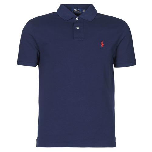 Textil Muži Polo s krátkými rukávy Polo Ralph Lauren POLO AJUSTE DROIT EN COTON BASIC MESH LOGO PONY PLAYER Tmavě modrá
