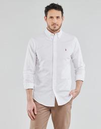 Textil Muži Košile s dlouhymi rukávy Polo Ralph Lauren CHEMISE AJUSTEE EN OXFORD COL BOUTONNE  LOGO PONY PLAYER MULTICO Bílá