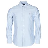 Textil Muži Košile s dlouhymi rukávy Polo Ralph Lauren CHEMISE AJUSTEE EN OXFORD COL BOUTONNE  LOGO PONY PLAYER MULTICO Modrá
