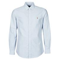 Textil Muži Košile s dlouhymi rukávy Polo Ralph Lauren CHEMISE AJUSTEE EN OXFORD COL BOUTONNE  LOGO PONY PLAYER MULTICO Modrá / Bílá