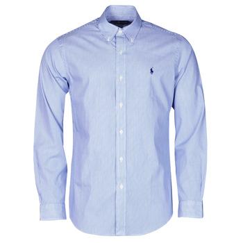Textil Muži Košile s dlouhymi rukávy Polo Ralph Lauren CHEMISE AJUSTEE EN POPLINE DE COTON COL BOUTONNE  LOGO PONY PLAY Modrá / Bílá