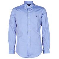 Textil Muži Košile s dlouhymi rukávy Polo Ralph Lauren CHEMISE AJUSTEE EN POPLINE DE COTON COL BOUTONNE  LOGO PONY PLAY Modrá
