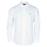Textil Muži Košile s dlouhymi rukávy Polo Ralph Lauren CHEMISE AJUSTEE EN POPLINE DE COTON COL BOUTONNE  LOGO PONY PLAY Bílá