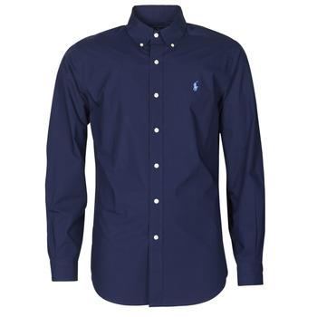 Textil Muži Košile s dlouhymi rukávy Polo Ralph Lauren CHEMISE AJUSTEE EN POPLINE DE COTON COL BOUTONNE  LOGO PONY PLAY Tmavě modrá