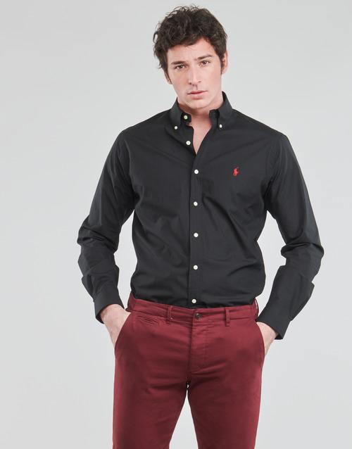 Textil Muži Košile s dlouhymi rukávy Polo Ralph Lauren CHEMISE AJUSTEE EN POPLINE DE COTON COL BOUTONNE  LOGO PONY PLAY Černá