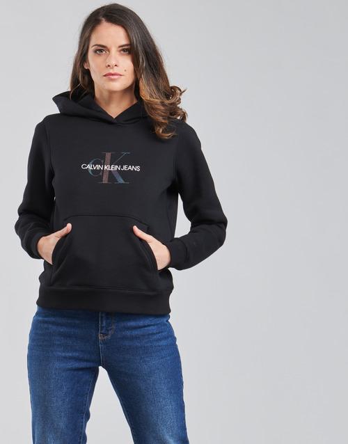 Textil Ženy Mikiny Calvin Klein Jeans REFLECTIVE MONOGRAM HOODIE Černá