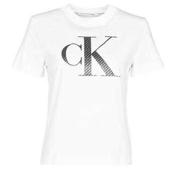 Textil Ženy Trička s krátkým rukávem Calvin Klein Jeans SATIN BONDED FILLED CK TEE Bílá