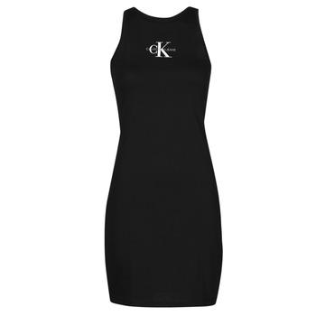 Textil Ženy Krátké šaty Calvin Klein Jeans MONOGRAM TANK DRESS Černá