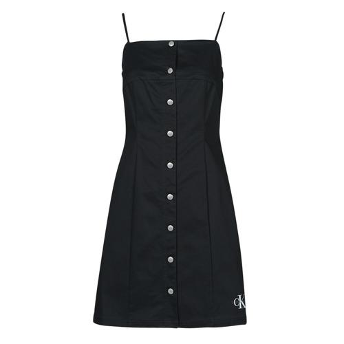 Textil Ženy Krátké šaty Calvin Klein Jeans COTTON TWILL BUTTON DRESS Černá