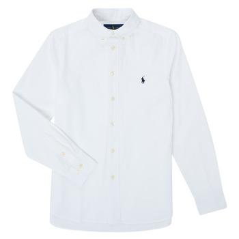 Textil Chlapecké Košile s dlouhymi rukávy Polo Ralph Lauren TOUNIA Bílá