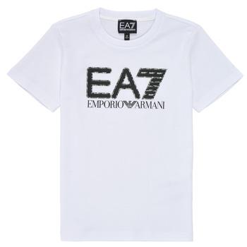 Textil Chlapecké Trička s krátkým rukávem Emporio Armani EA7 3KBT53-BJ02Z-1100 Bílá