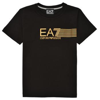 Textil Chlapecké Trička s krátkým rukávem Emporio Armani EA7 3KBT54-BJ02Z-1200 Černá / Zlatá