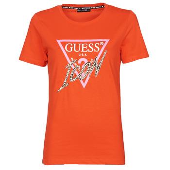 Textil Ženy Trička s krátkým rukávem Guess SS CN ICON TEE Červená