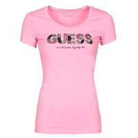 Textil Ženy Trička s krátkým rukávem Guess SS RN MARTINA TEE Růžová