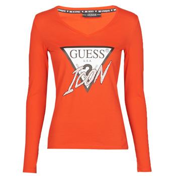 Textil Ženy Trička s dlouhými rukávy Guess LS VN ICON TEE Červená