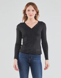 Textil Ženy Trička s dlouhými rukávy Guess LS URSULA TOP Černá