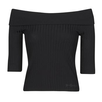Textil Ženy Trička s dlouhými rukávy Guess DAYNA OFF SHOULDER SWTR Černá