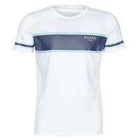 Textil Muži Trička s krátkým rukávem Guess CN SS TEE Bílá / Tmavě modrá