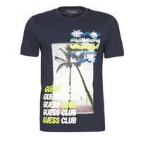 Textil Muži Trička s krátkým rukávem Guess GUESS CLUB CN SS TEE Tmavě modrá