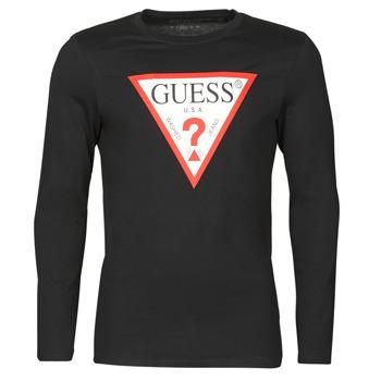 Textil Muži Trička s dlouhými rukávy Guess CN LS ORIGINAL LOGO TEE Černá
